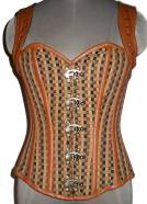 Cotton Brocade Steampunk Corset with Brown Faux Leather