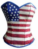 Blue Satin Red White Sequins Handwork Gothic Bustier Waist Training Steampunk Overbust Corset Costume