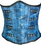 Denim Print Faux Leather Underbust