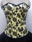 Yellow Satin Tissue Flocking Overbust Corset Top