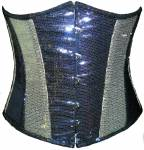 Black Silver Georgette Sequins Waist Training Underbust Corset Top