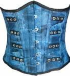 Blue Denim Print Faux Leather Waist Cincher Front Open Busk Shapewear Underbust Corset Top