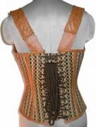 Cotton Jute & Leather Shoulder Strap Gothic Waist Training Bustier Halloween Overbust Corset Top
