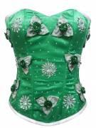 Green Satin Handmade Sequins Gothic Waist Training Bustier Overbust Corset Costume