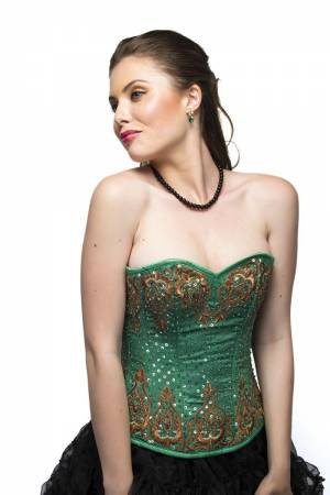 Alluring Green Sequined Corset