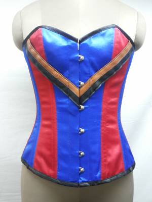 Marvelous Blue Satin Corset Waist Cincher
