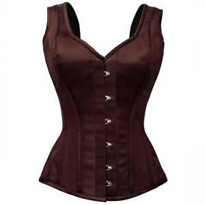 Exquisite Brown shoulder straps Overbust Corset