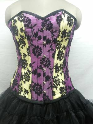 Gorgeous Satin With Tissue Flocking Overbust Corset Dress