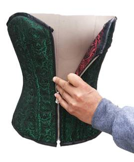 Stunning Green & Red Reversible Brocade Corset