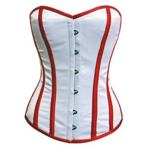 Simple White Satin Red Lining Overbust Corset Top Waist Cincher