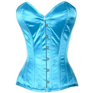 Turquoise Satin Overbust Corset Top