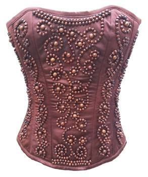 Brown satin Sequined Full Bust Corset Top