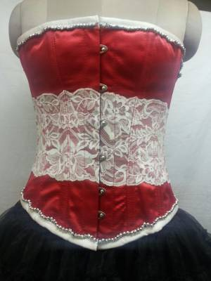 Red Satin With white Net Front Opening Busk Overbust Corset