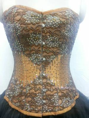 Golden Brown Silk Sequin Full Bust Corset Top