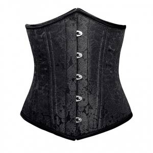 Black Brocade Double Bone Underbust Corset Top Waist Cincher