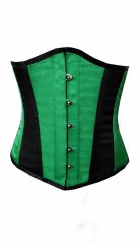Green-Black-Satin-Burlesque-Waist-Training-Bustier-Underbust-Corset-Costume