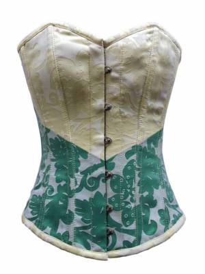 Women's Yellow Satin Green & White Tissue Flocking Overbust Corset Top
