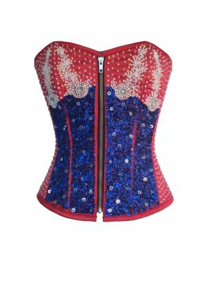 Women's Red Satin Blue White Sequins Gothic Burlesque Waist Training Bustier Overbust Corset Costume