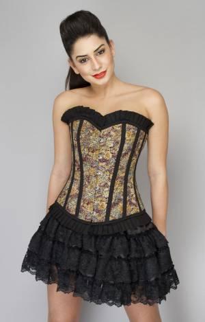 Cotton Lily Printed Overbust Top & Satin Net Tutu & Skirt Wedding Corset Dress