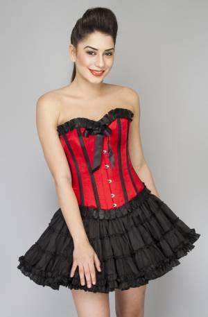 Red Satin Black Frill Overbust Top & Cotton Silk & Skirt Corset Dress