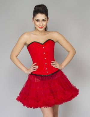 Red Velvet Gothic Waist Training Bustier Overbust Top & Red Tutu Skirt Corset Dress