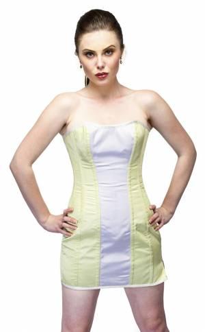 White, Yellow Satin Overbust Top & Skirt Vintage Corset Dress