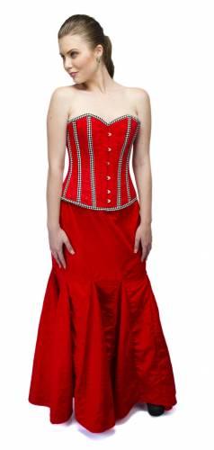 Red Velvet Check Stripes Overbust Top & Long Skirt Corset Dress