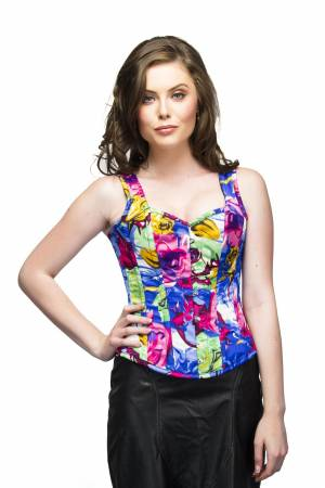 Poly Satin Printed Top & Long Leather Skirt Waist Cincher Overbust Corset Dress