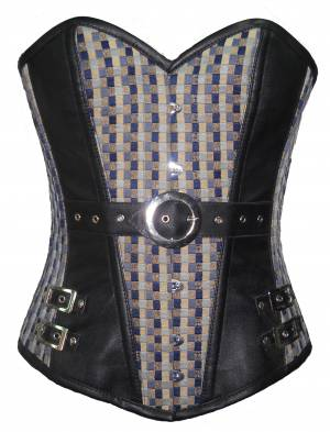 Printed Cotton Leather Work Waist Training Lingerie Overbust Corset Costume
