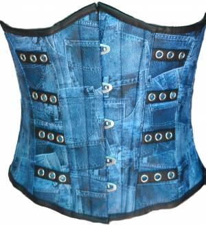 Blue Denim Print Faux Leather Waist Cincher Front Open Busk Underbust Women Corset Costume