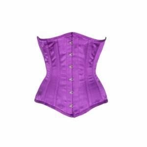 Purple Satin Gothic Bustier Waist Training Body Shaper Underbust Corset Costume