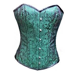 Green Black Brocade Overbust Burlesque Waist Cincher Corset Top
