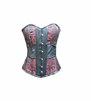 Red Brocade Jacquard Leather Gothic Bustier Victorian Costume Waist Training Burlesque Overbust Corset Top