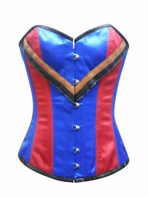 Red Blue Satin V Leather Straps Gothic Waist Training Bustier Burlesque Overbust Corset Costume