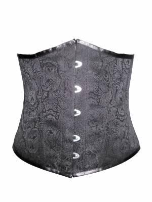 Black Brocade Gothic Bustier Waist Training Burlesque Underbust Corset Costume