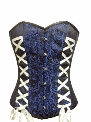 Blue Brocade Sequins Gothic Waist Cincher Bustier Overbust Wedding Corset Costume