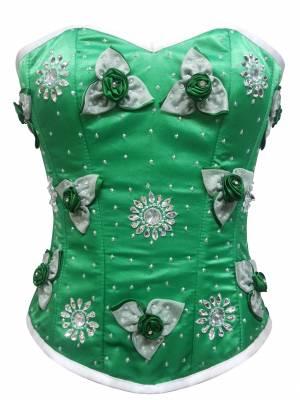 Green Satin Handmade Sequins Gothic Burlesque Waist Training Bustier Women Overbust Corset Costume