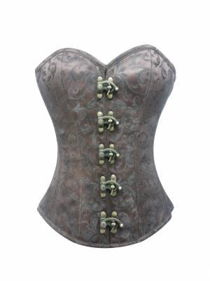 Brown Brocade Gothic Steampunk Overbust Waist Training Bustier Corset Period Costume
