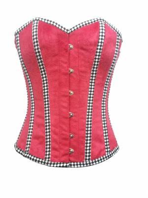 Red Velvet Check Stripes Gothic Bustier Waist Training Overbust Corset Costume