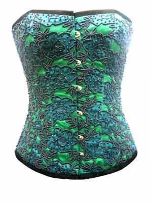 Green Satin Handmade Sequined Gothic Bustier Waist Training Overbust Corset Costume