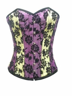 Yellow Purple Satin Tissue Flocking Gothic Bustier Waist Training Overbust Corset Costume