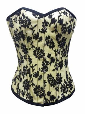 Yellow Satin Black Tissue Flocking Gothic Bustier Waist Training Vintage Overbust Corset Costume