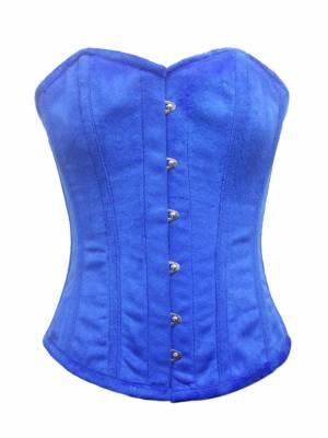 Blue Velvet Front Open Busk Waist Cincher Clothing Overbust Corset Top