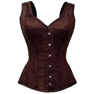 Brown Satin Shoulder Strap Gothic Bustier Waist Training Vintage Overbust Corset Costume