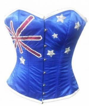Women's Blue Satin Australia Flag Sequins Handwork Bustier Waist Training Overbust Corset Costume