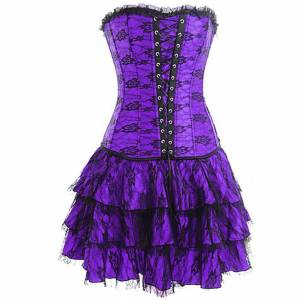 Purple Satin with Skirt Gothic Bustier Waist Training Costume Vintage Overbust Corset Dress
