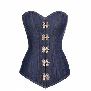Blue Denim Gothic Bustier Waist Training LONG Overbust Corset Costume