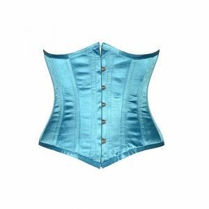 Turquoise Satin Gothic Bustier Waist Training Body Shaper Underbust Corset Costume