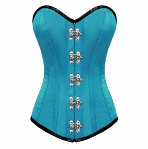 Turquoise Satin Seal Lock Gothic Bustier Waist Training LONG Overbust Corset Costume