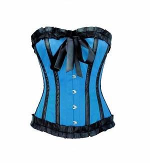Blue Satin Gothic Retro Bustier Waist Training Overbust Corset Costume